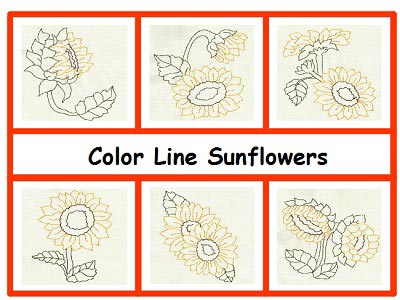 Color Line Sunflowers Embroidery Machine Designs