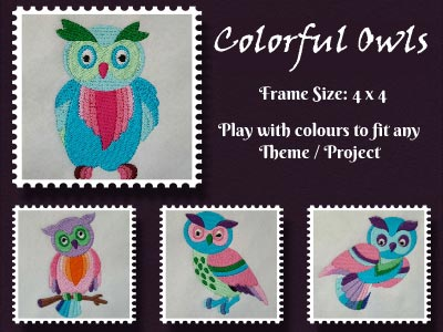 Colorful Owls Embroidery Machine Designs