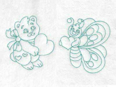 Embroidery Machine Designs Cute Baby Animals With Hearts Set