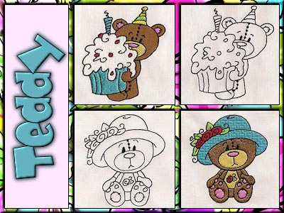 Cute Teddy Embroidery Machine Designs