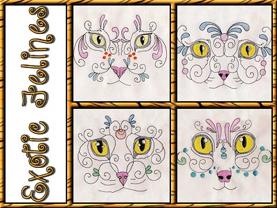 Exotic Felines Embroidery Machine Designs
