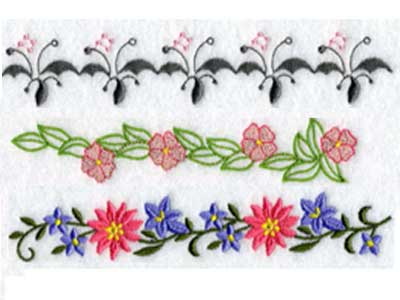 Embroidery Machine Designs Floral Endless Borders 2 Set