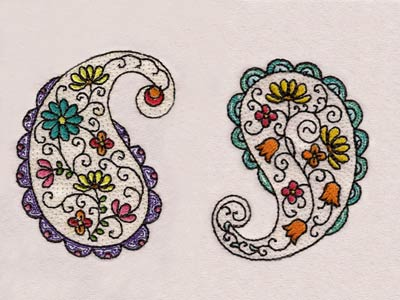 Embroidery Machine Designs Floral Paisley Set