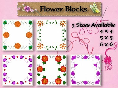 Flower Blocks Quilt Embroidery Machine Designs