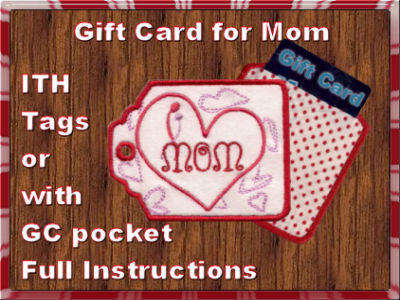 Gift Card Holders for Mom Embroidery Machine Designs