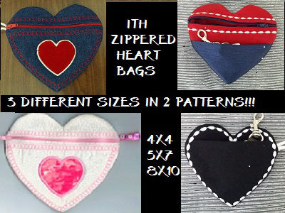 In The Hoop Zippered Heart Bags Embroidery Machine Designs
