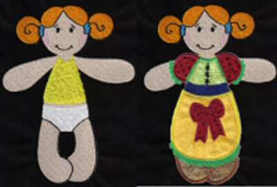 Paper Dolls Embroidery Machine Designs