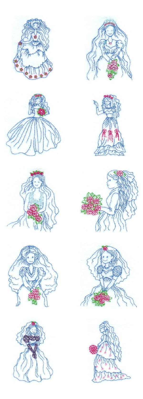 Embroidery machine designs bride color works set