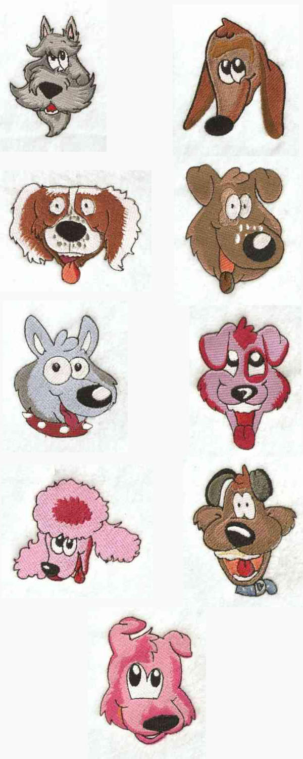 Embroidery machine designs funny dogs set