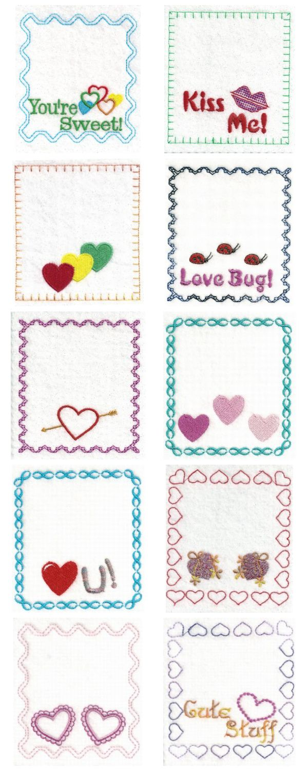 Embroidery machine designs valentine bag toppers set