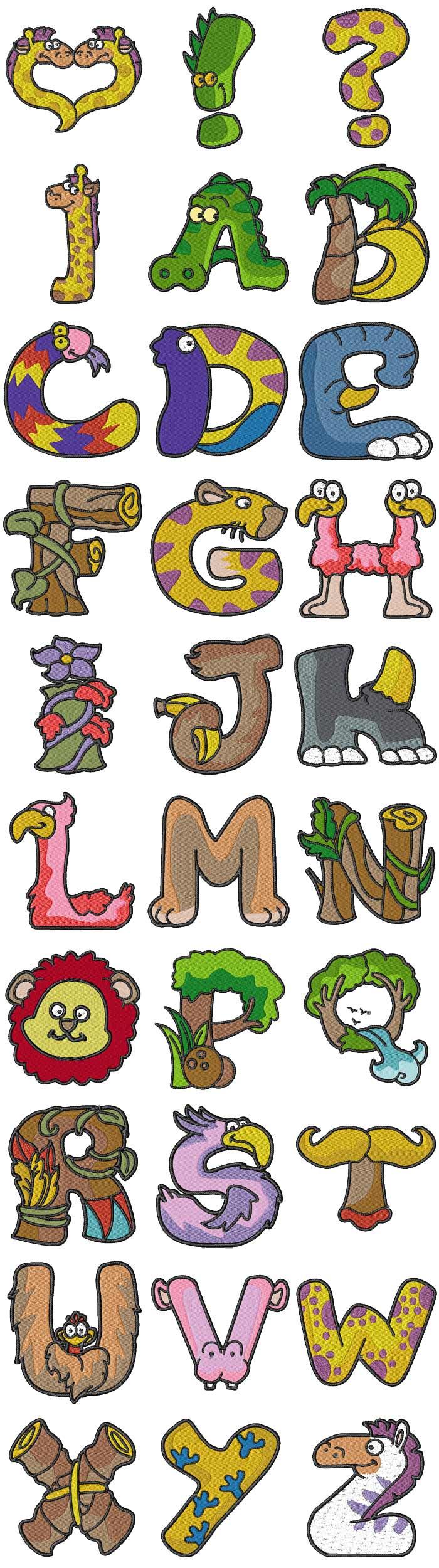 Embroidery machine designs animal alphabet set