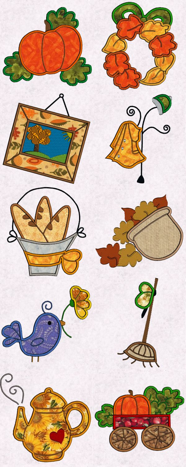 Applique Fall Time Embroidery Machine Design Details
