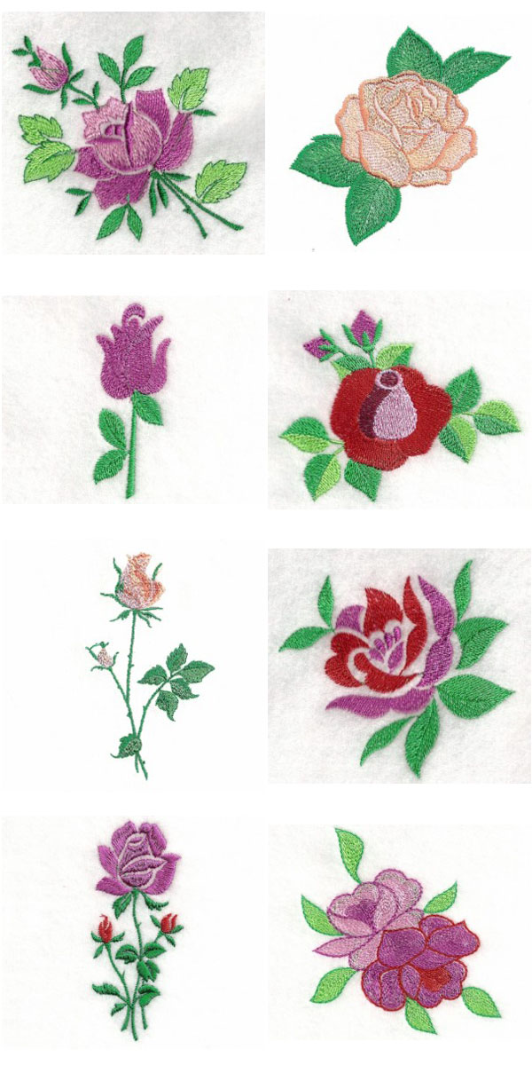 Embroidery machine designs a rose is set