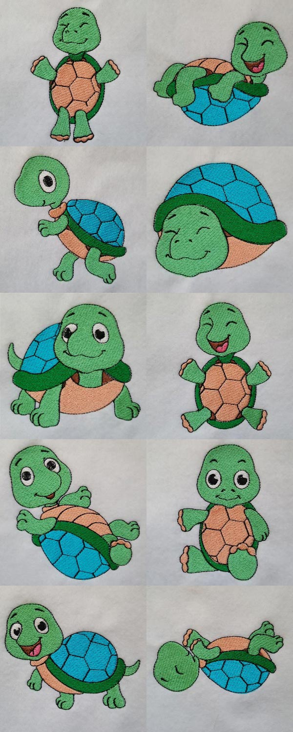 Baby Turtles Embroidery Machine Design Details