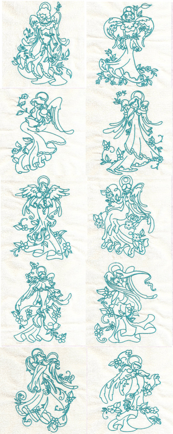 Embroidery machine designs bluework floral angels set