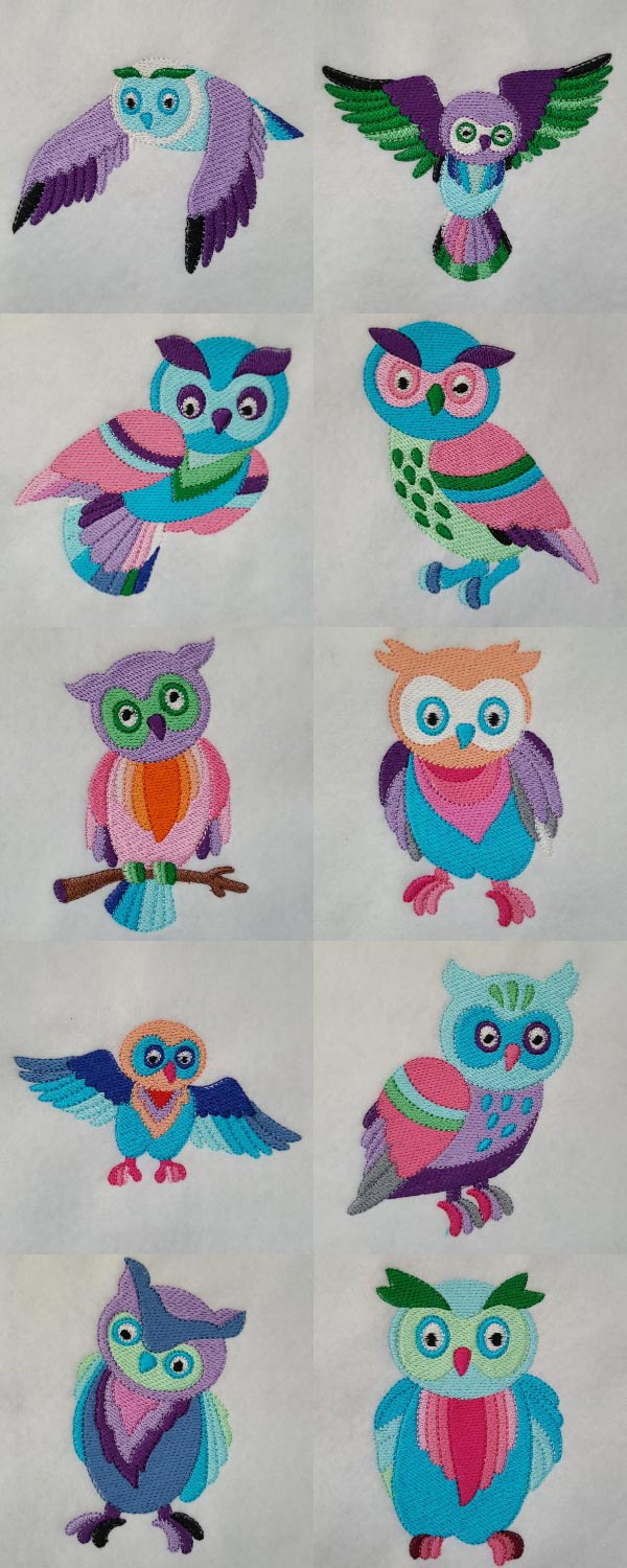 Colorful Owls Embroidery Machine Design Details