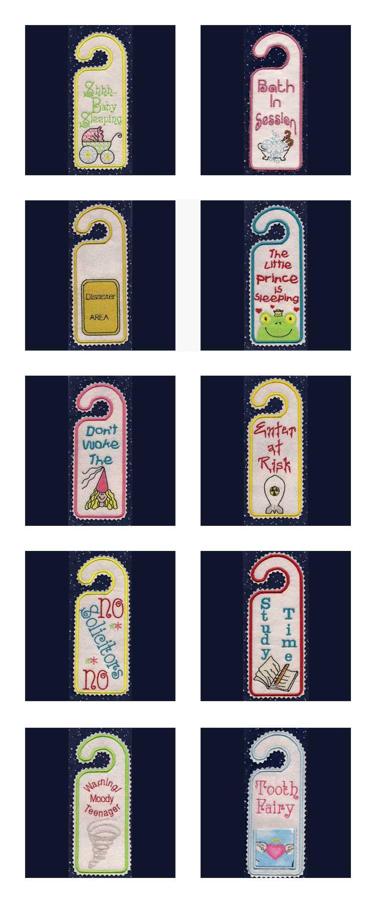 embroidery machine designs cute door hangers set