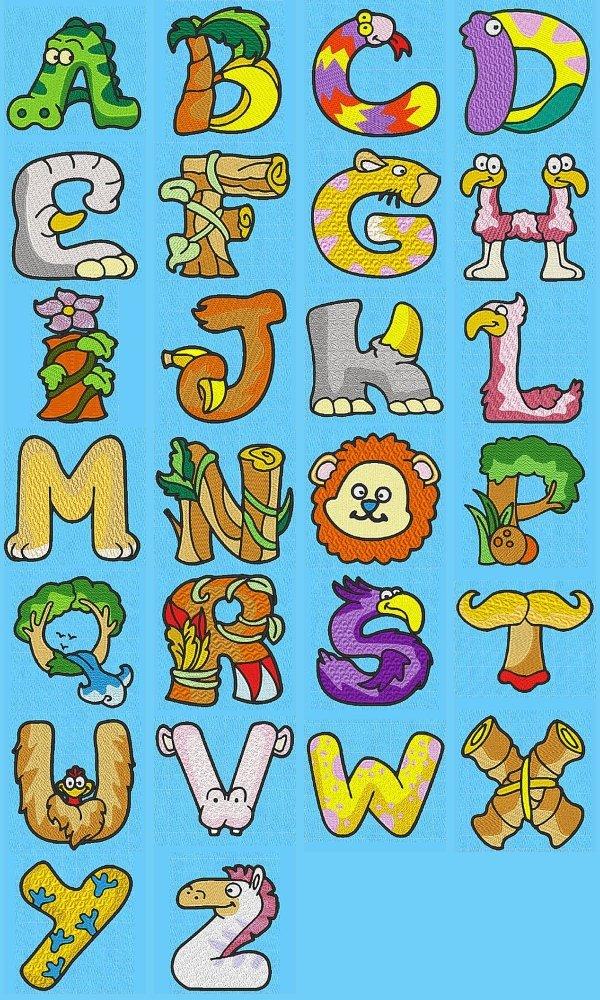 Embroidery machine designs dd animal alphabet set