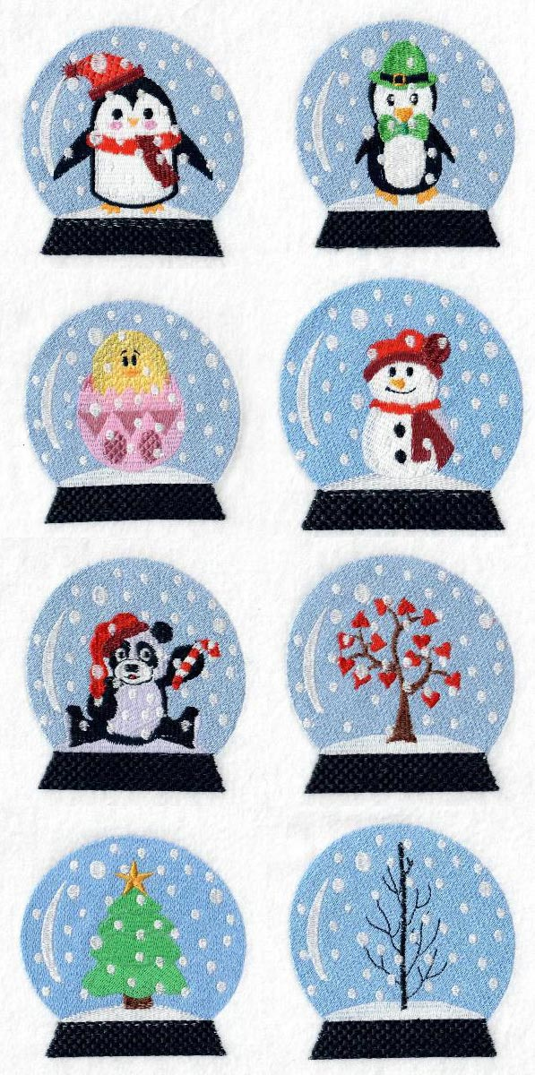 Festive Snow Globes Embroidery Machine Design Details