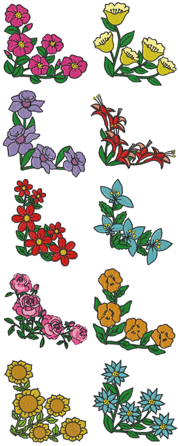 Embroidery Machine Designs Floral Corners Set