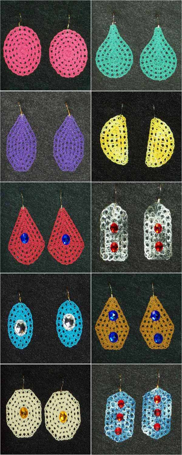 Embroidery Machine Designs Fsl Fun Loopy Earrings Set