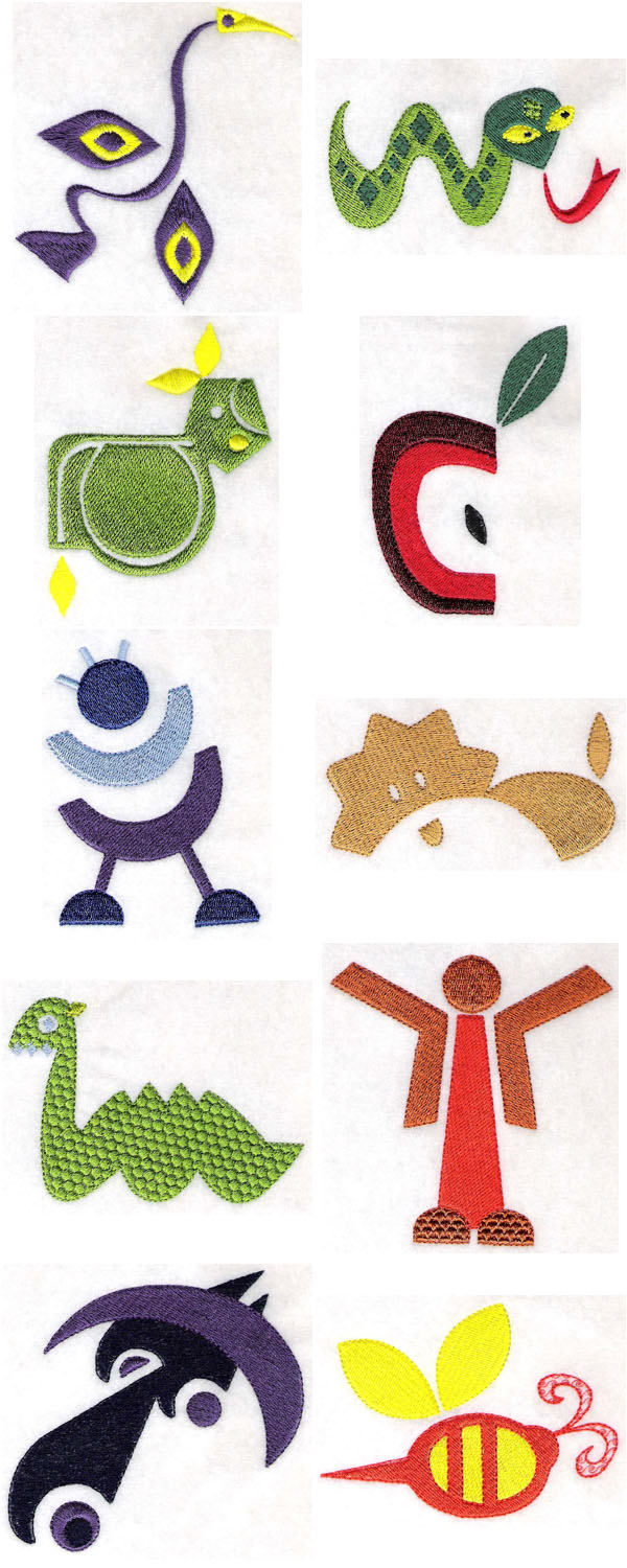 Embroidery machine designs fun shapes set