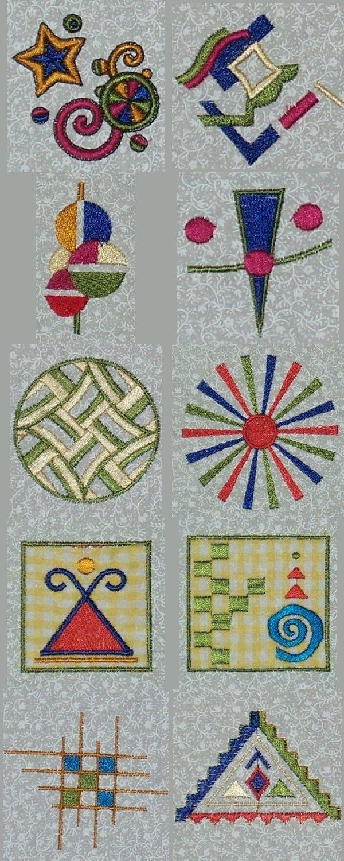 Embroidery machine designs geometric quilt blocks set