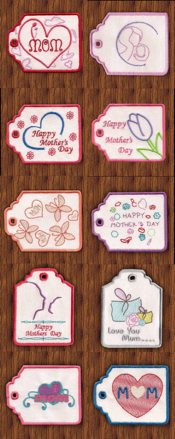 Gift Card Holders for Mom Embroidery Machine Design Details