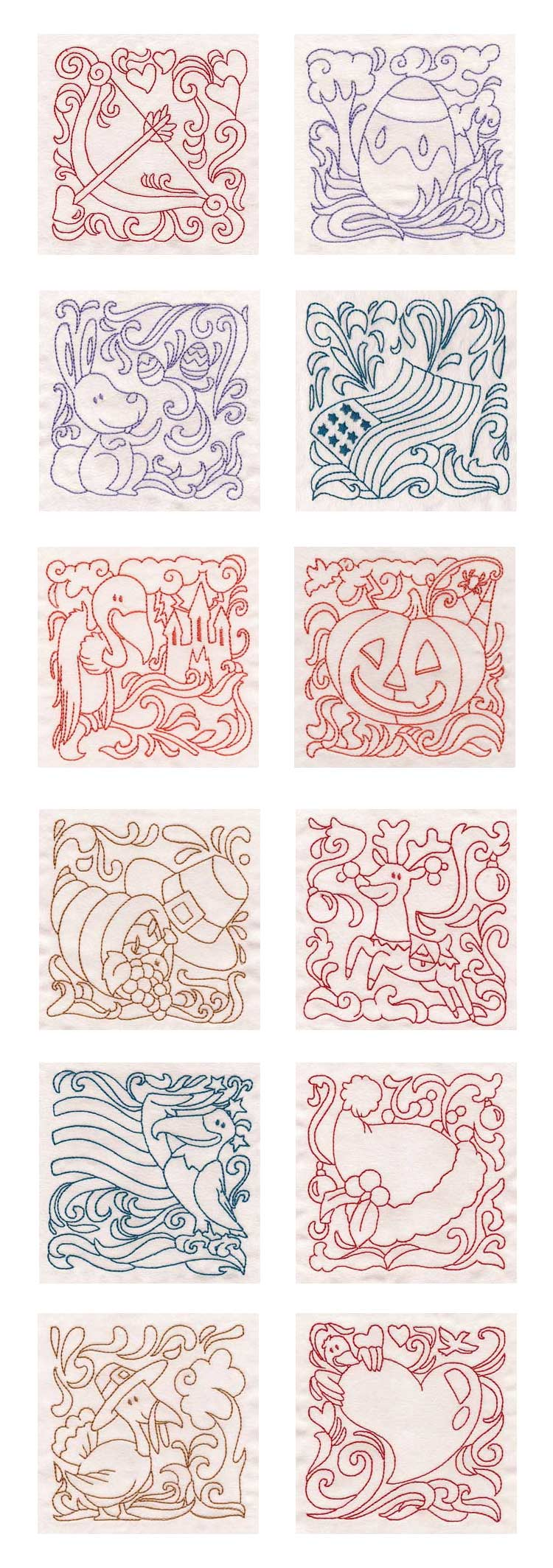 Embroidery Quilt Block Designs : Embroidery Machine Designs - Holidays Quilt Blocks Set