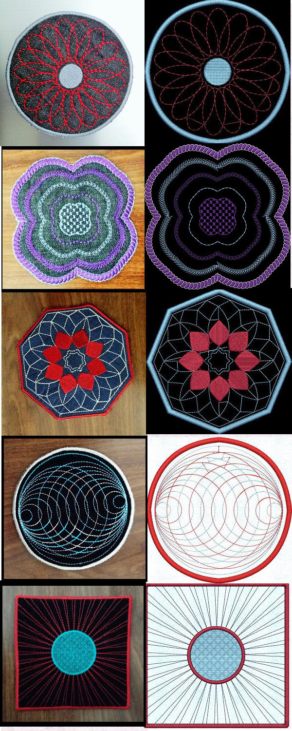 Embroidery machine designs ith coasters set