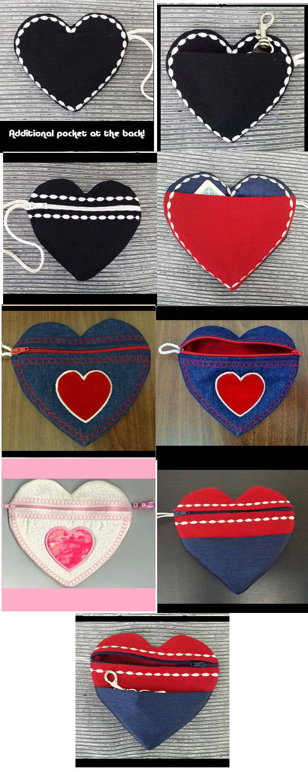 In The Hoop Zippered Heart Bags Embroidery Machine Design Details