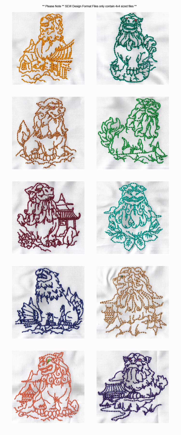 Embroidery machine designs line art loyal protectors set