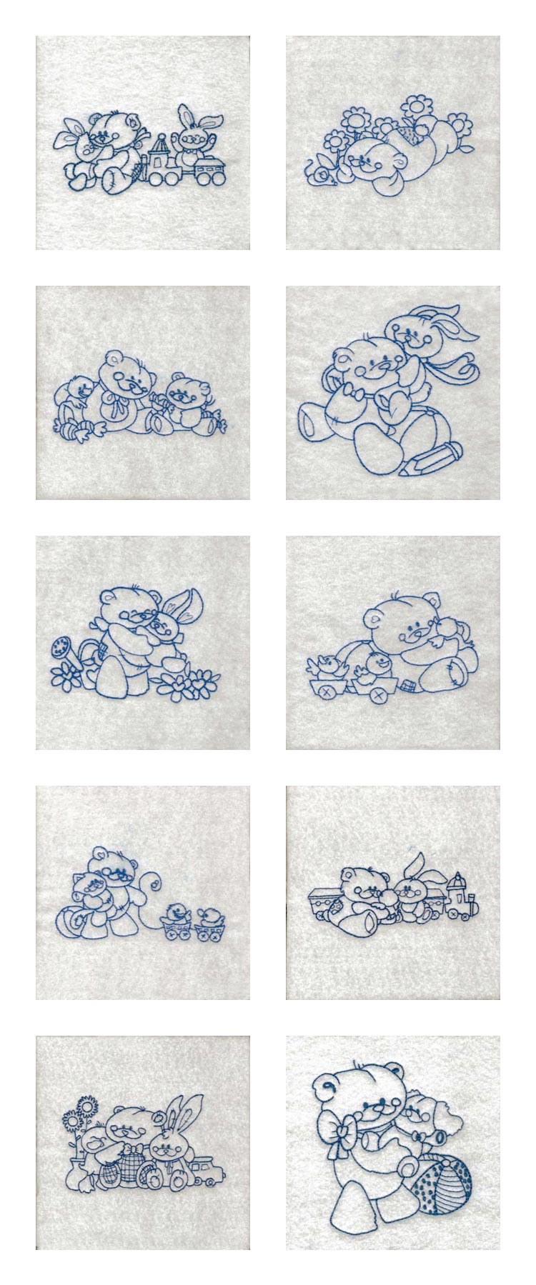 Embroidery machine designs line art teddy bears set