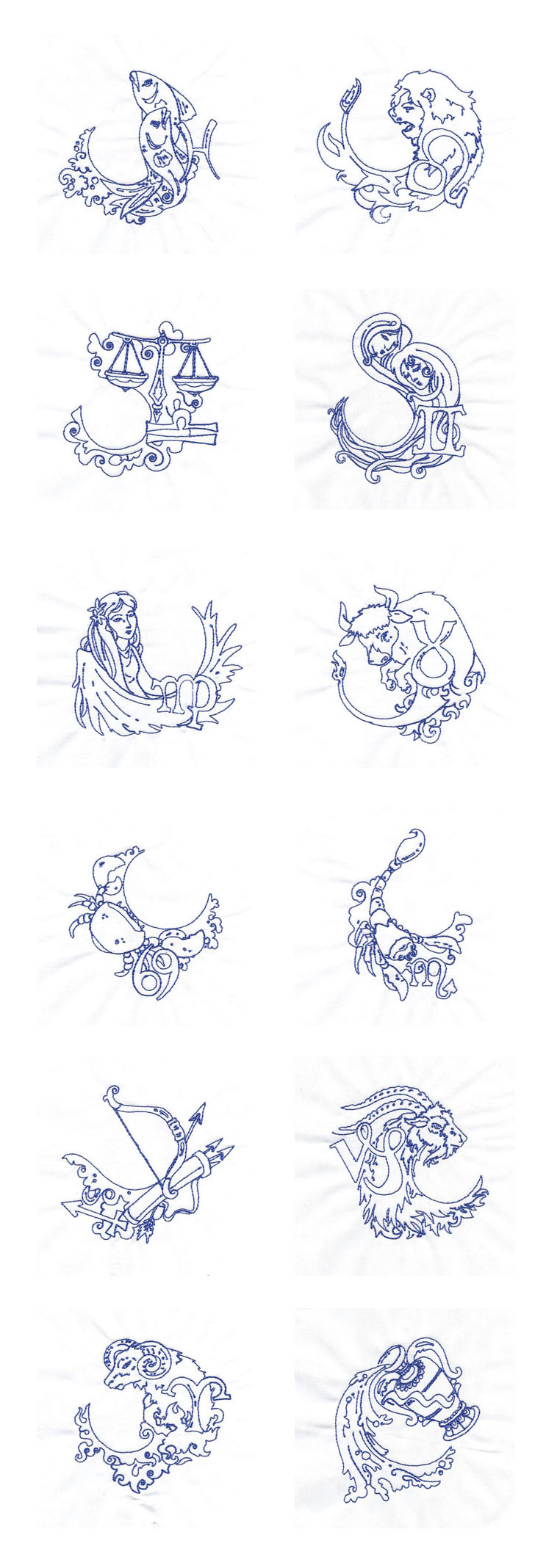 Embroidery machine designs lineart zodiac set