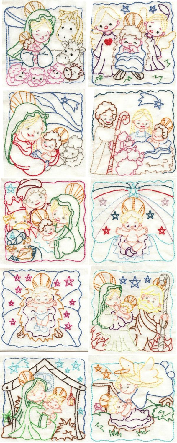 Embroidery machine designs nativity color work set