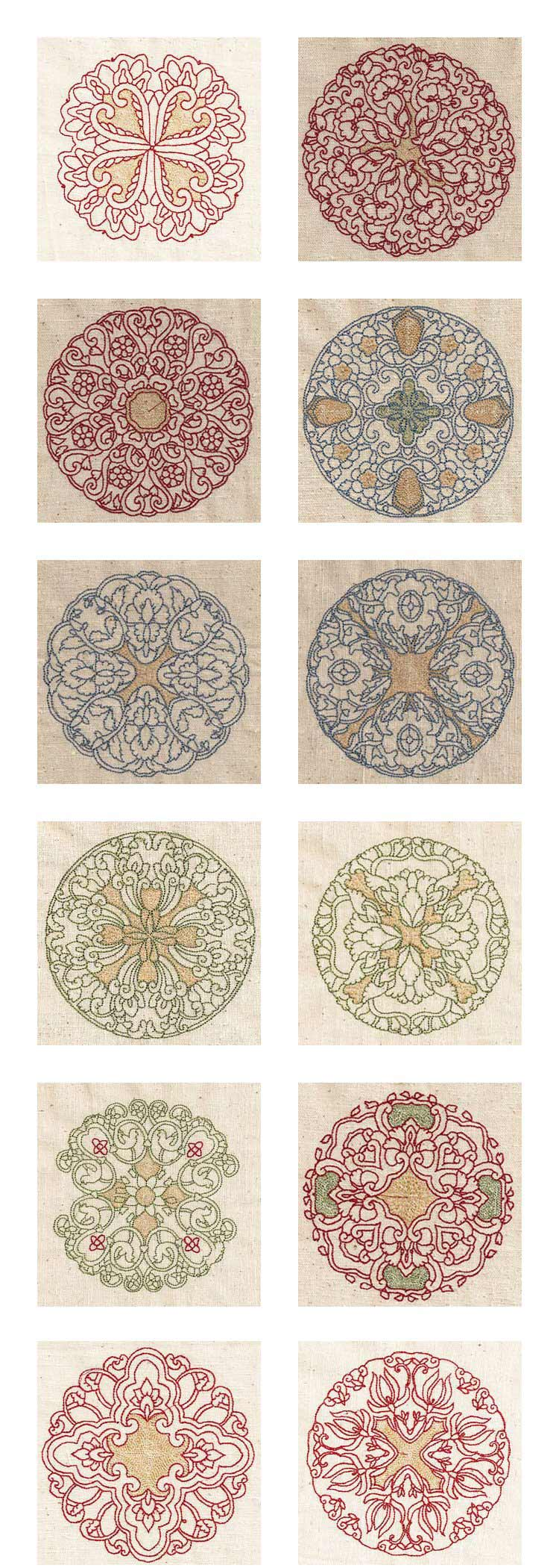 Persian Quilt Circles Embroidery Machine Design Details
