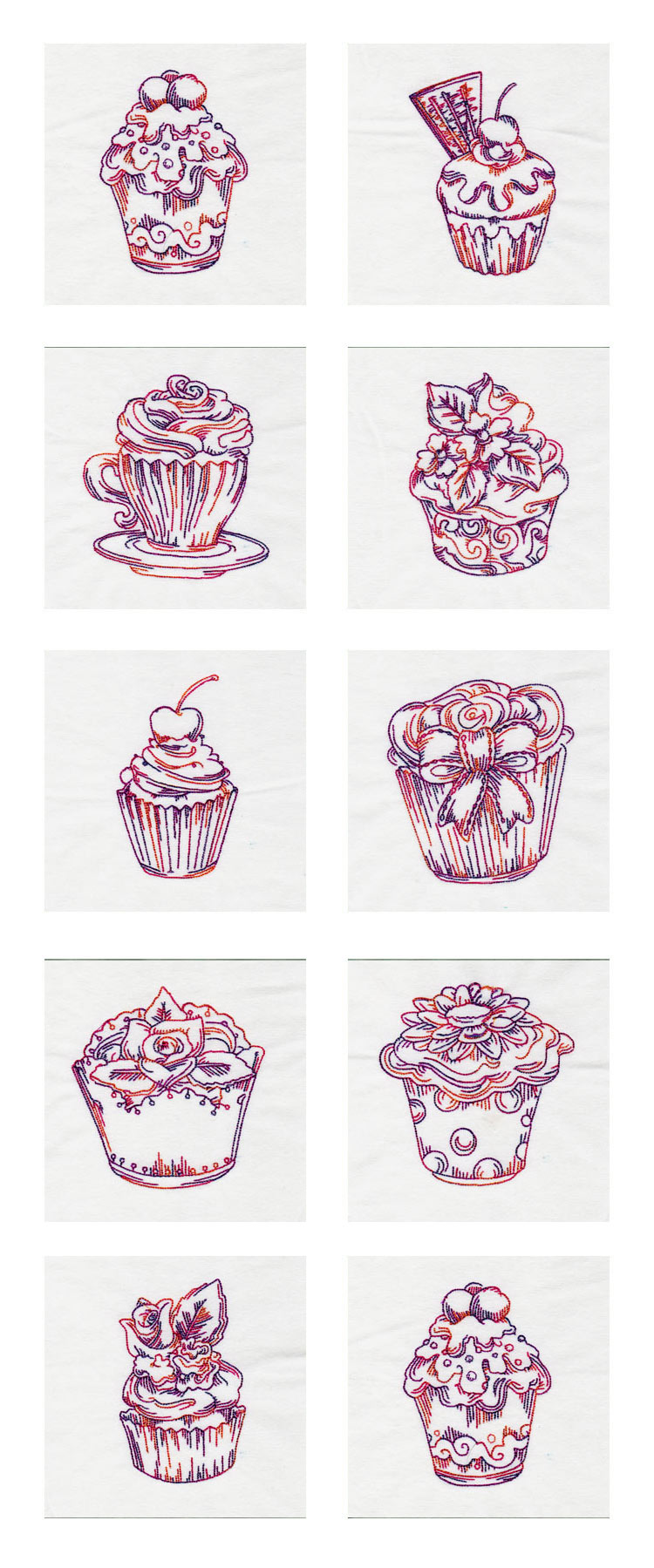 Fancy RW Cupcakes Embroidery Machine Design Details