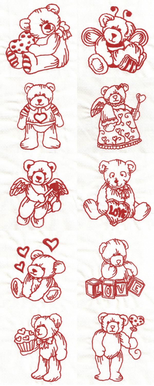 Embroidery machine designs redwork valentine teddies set