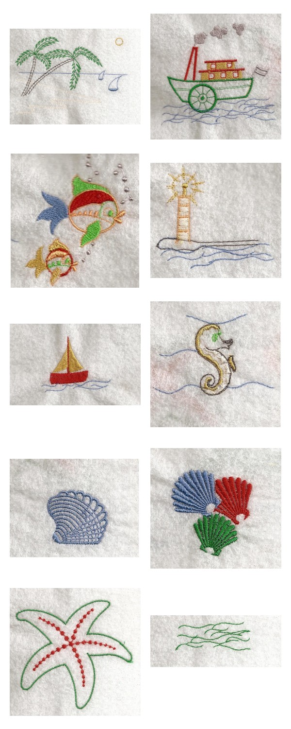 Embroidery machine designs seaside fun set for Beach house embroidery design