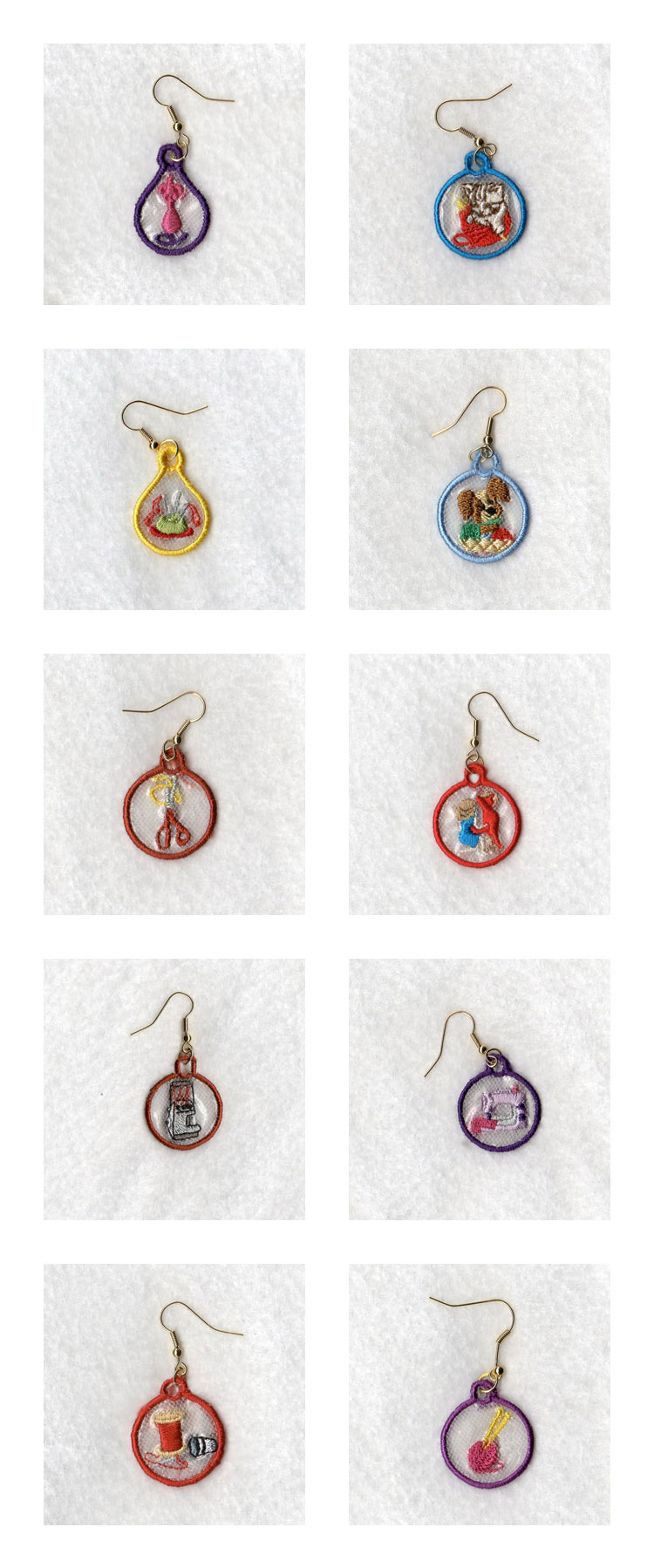 Embroidery machine designs knitting and sewing earrings set