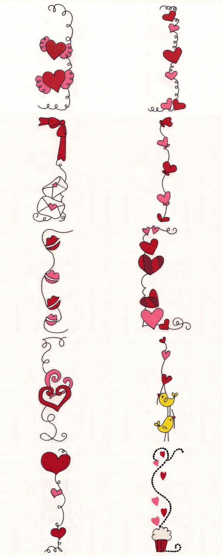 Embroidery machine designs valentine borders set