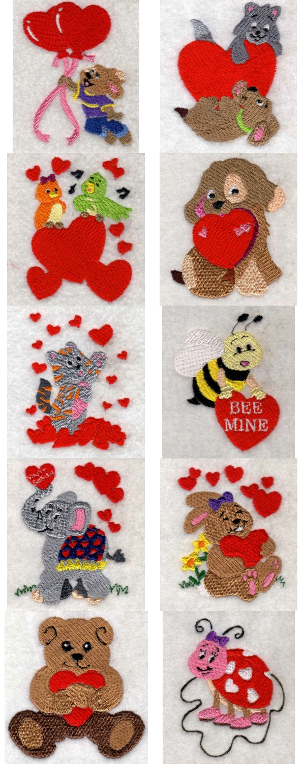 Embroidery machine designs valentine critters set